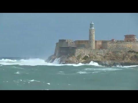 Waves wallop Havana's Malecon seafront