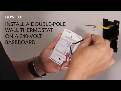 How to install: Wall thermostat , double-pole on 240V ...  Pole Line Voltage Thermostat Wiring Diagram on