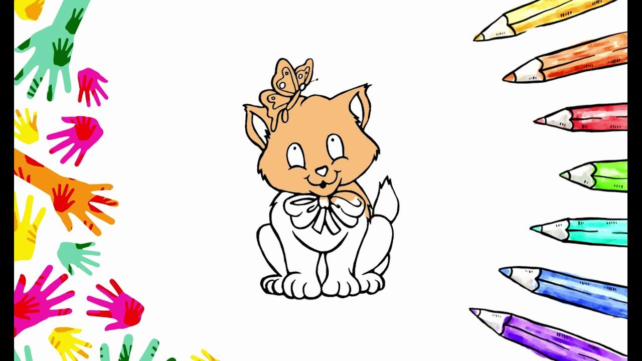 çocuklar Için Boyama Sayfası Kedi Boyama Boyama Eğlenceli çocuk