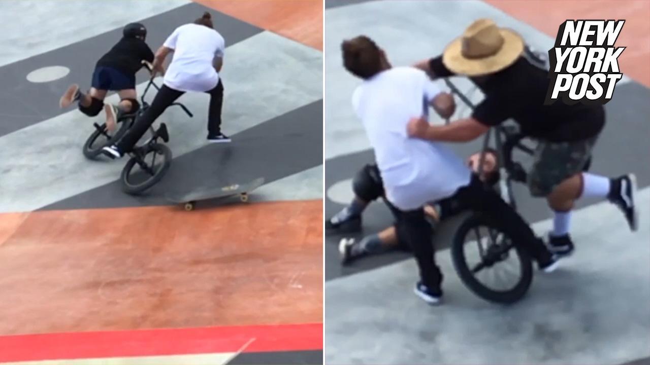 Very Man-bun vs. dad-socks in skate park rumble - YouTube EW27