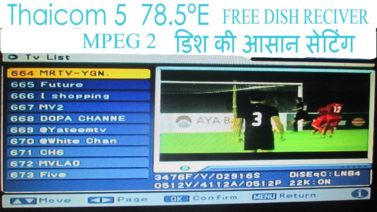 Thaicom 5 78 E setting mpeg 2 free Dish set top box c band dish by BS Tech  Tips