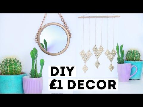 DIY  £1 Budget Room Decor   £1 Store / Dollar Store Room Decor