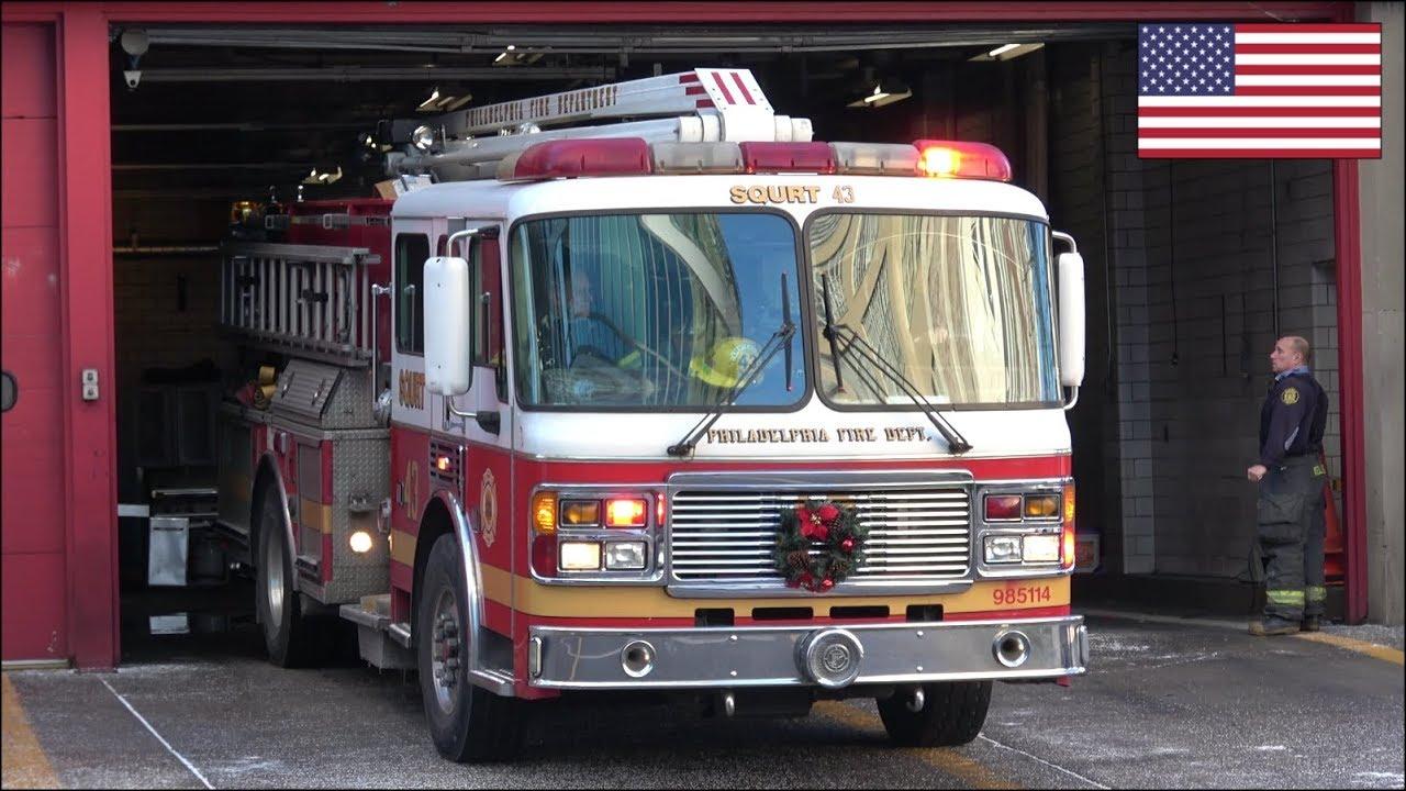 PFD Squrt 43 fire truck responding with air horn, siren & lights