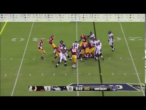 Washington Redskins @ Baltimore Ravens. Anthony Lanier shed and tackle.