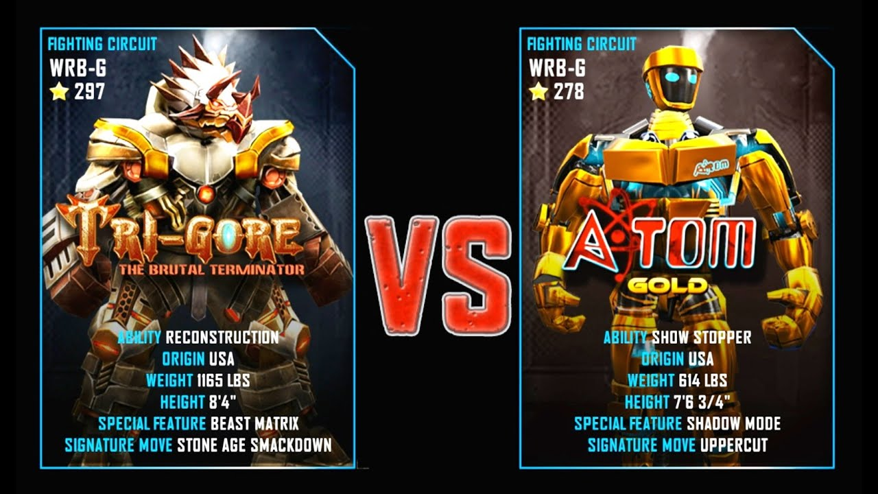 REAL STEEL WRB Tri Gore VS Atom Gold New Robots GOLD ...