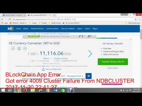 Block Chain Got Error 4009'Cluster Failure' from NDBCLUSTER
