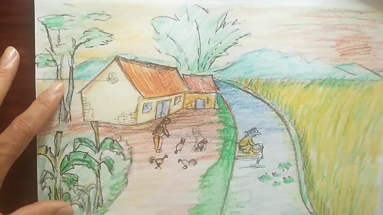 Vẽ tranh phong cảnh quê hương đơn giản nhất