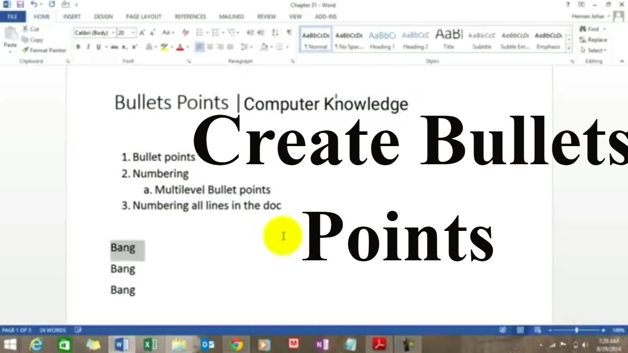 how to set default bullet points in word