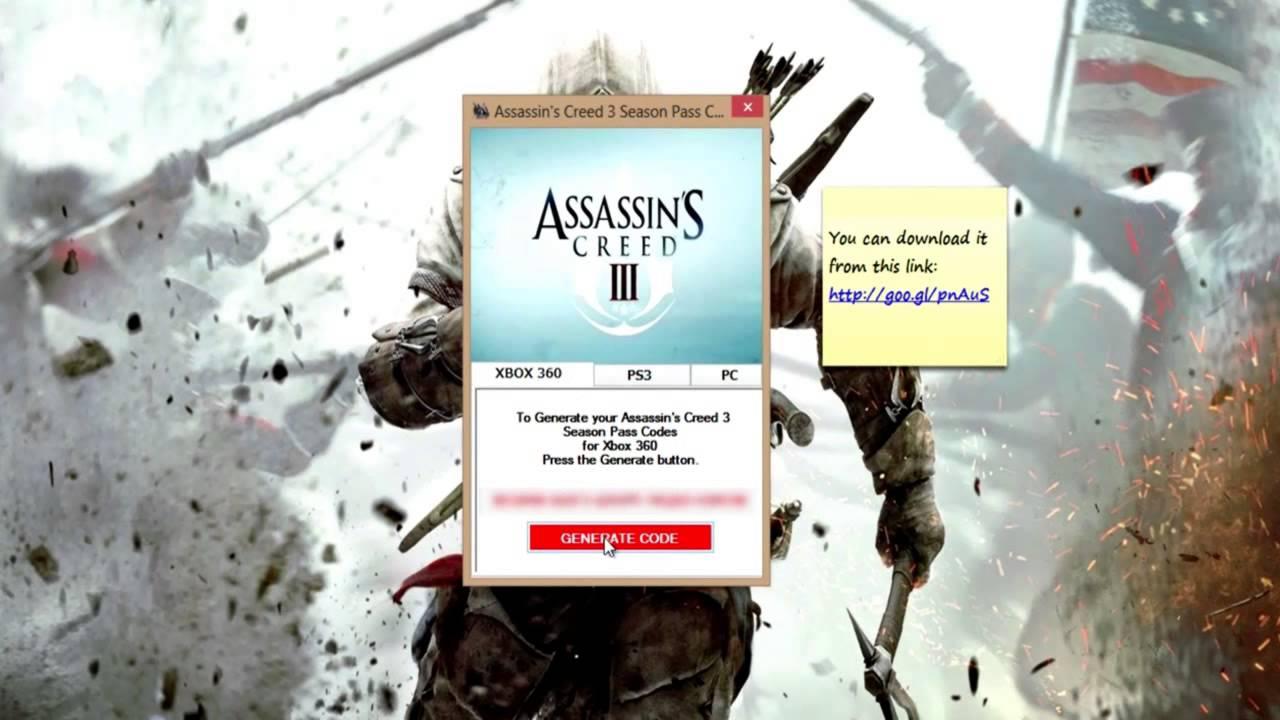 Assassin's Creed 3 Season Pass Codes[PC|PS3|Xbox360] - YouTube