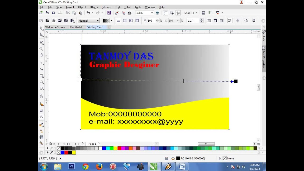 Coreldraw visiting card - How To Make Your Own Visiting Card In Corel Draw X7