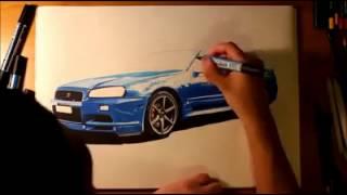 drawing 3D NISSAN SKYLINE-Paul William Walker IV-
