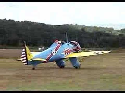 Mayocraft P-26 Peashooter aircraft taxi test on grass