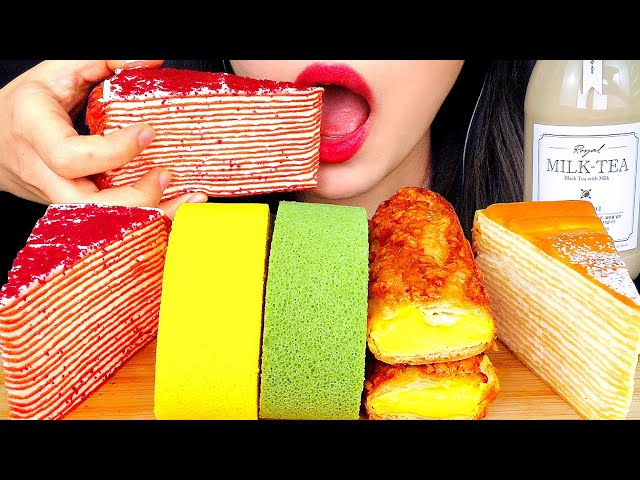 ASMR CREPE CAKE, ROLL CAKE 디저트39 크레이프 케이크, 롤케이크 먹방 ミルクレープ EATING SOUNDS NO TALKING DESSERT MUKBANG