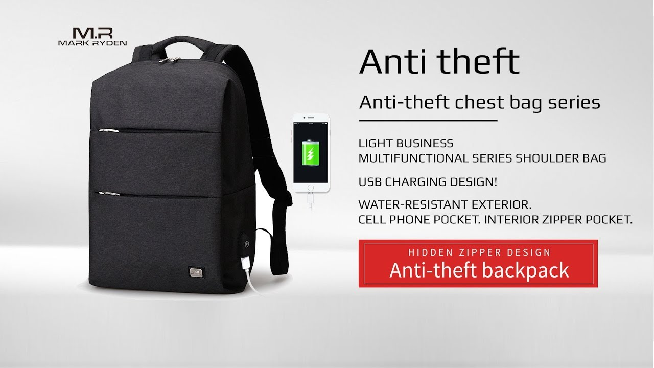 Mark Ryden Water Resistant Laptop Backpack with USB Charging Port Fits 15-Inch
