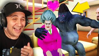 I Made A GORILLA Fall In Love With Hello Neighbor's Sister! | Scary Teacher 3D