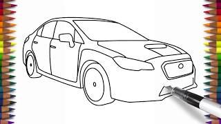 How to draw Subaru Impreza WRX easy car drawing