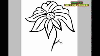 How to Draw a Flower for kids | YZArts