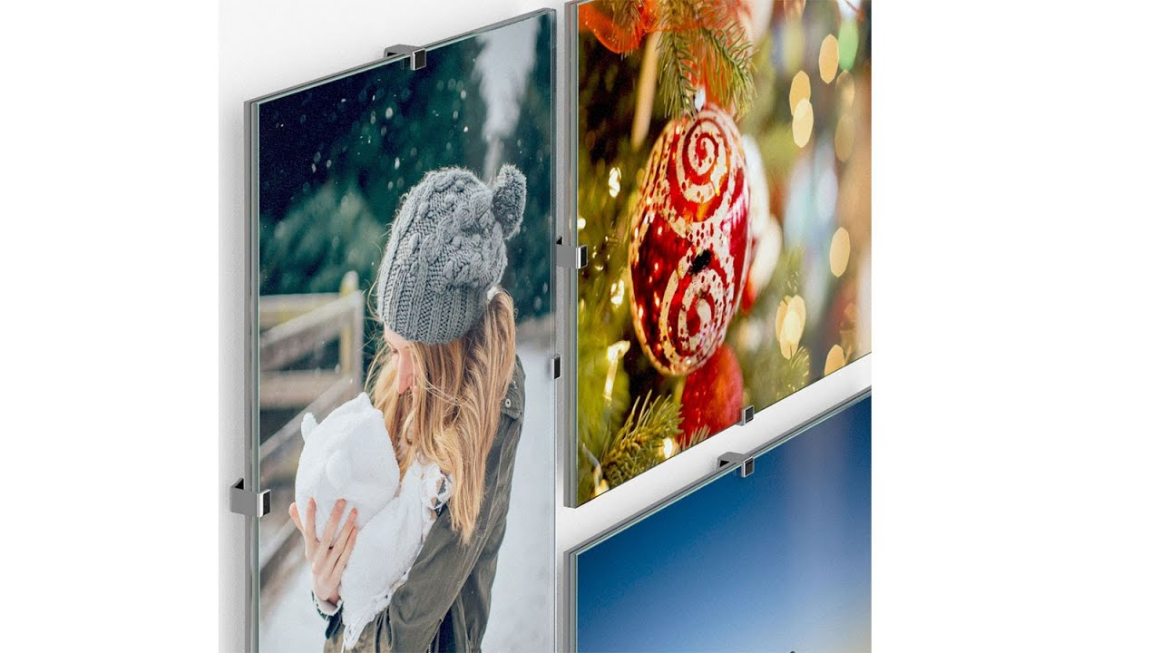 Gl Frameless Photo Frame With Clips
