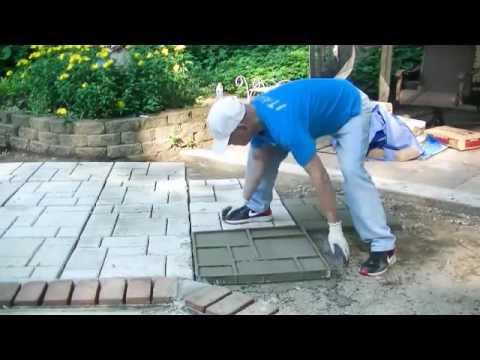 Betonowanie Podwórka Za Pomocą Formy Do Kostki Brukowej