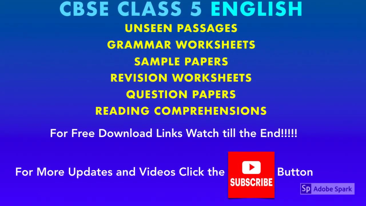CBSE Class 5 English | Grammar Worksheets | Sample Papers | Unseen Passages