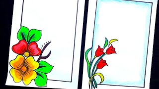 Flower designs/Beautiful flower border designs on paper/project file decoration/ two border designs