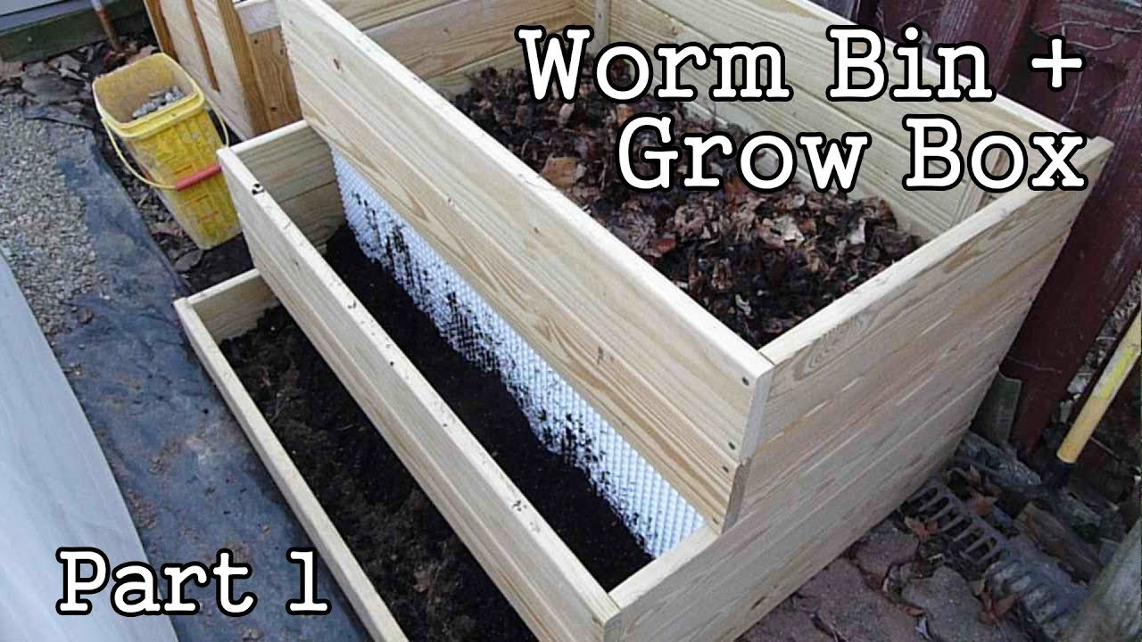 Compost Worm Bin Grow Box Garden Planter Part1 Diy