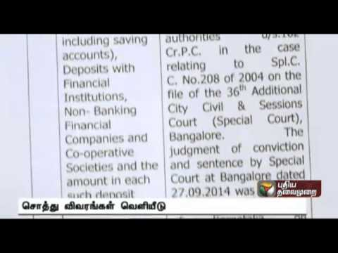 Property details of Chief Minister Jayalalithaa