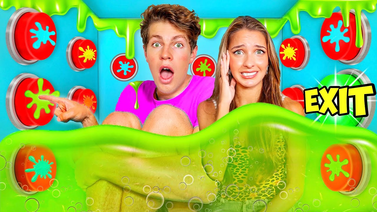 100 SLIME Mystery Buttons.. Only 1 Will Let you ESCAPE the Box!!