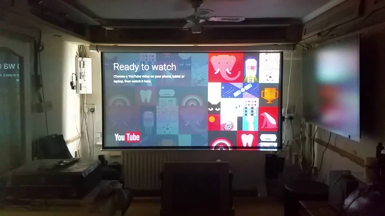 100 inch projector screen youtube for 100 inch motorized projector screen