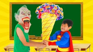 School colors Spiderman Fishing CANDY CREAM w/ Superman Paint Box Masha Brush your teeth Learn Color