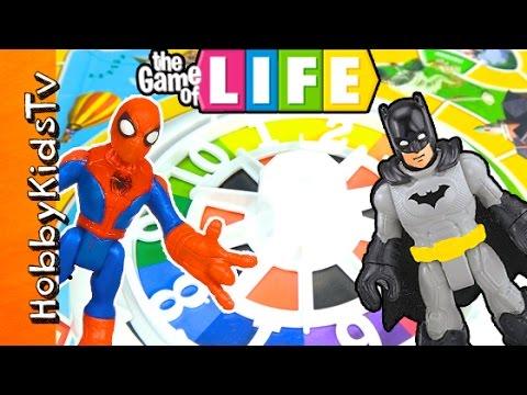 The Game of LIFE with Batman Vs Spiderman by HobbyKidsTV