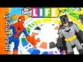 The Game of LIFE with Batman Vs Spiderman by HobbyKidsTV