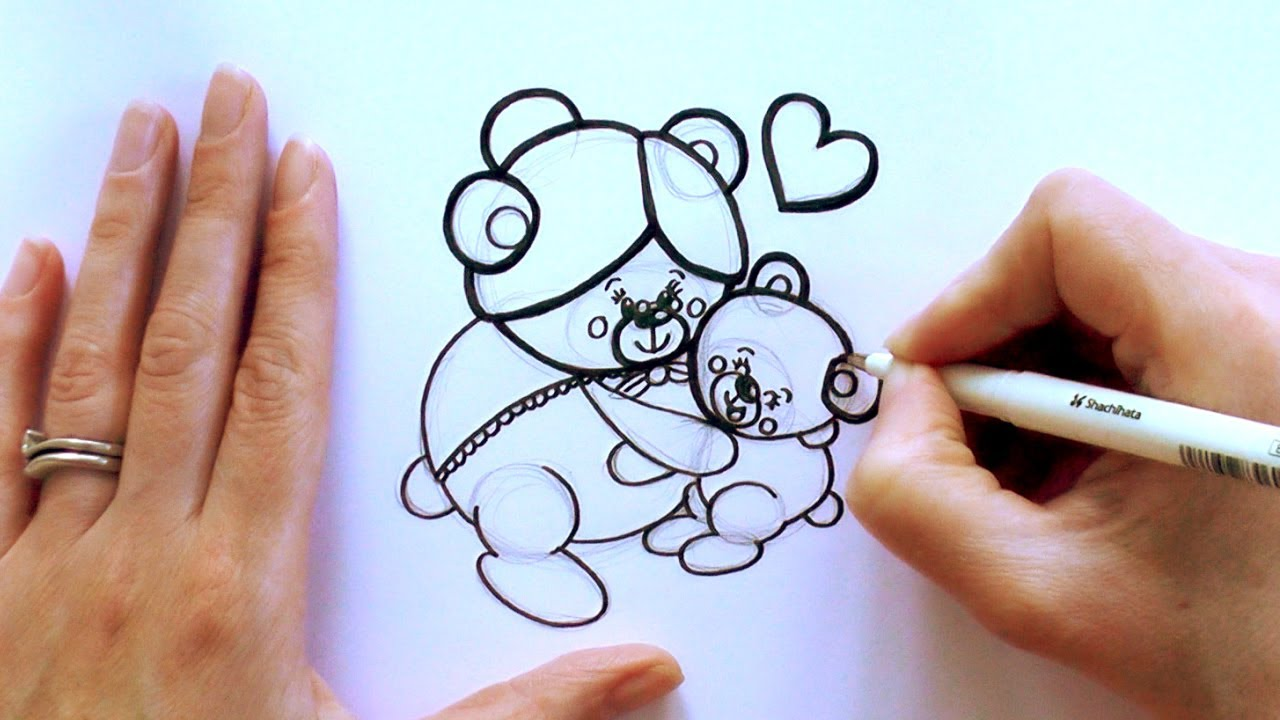 How To Draw A Cartoon Bear Hugging His Grandmother For Mothers Day