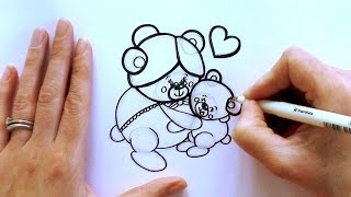 How to Draw a Cartoon Bear Hugging His Grandmother - for Mother