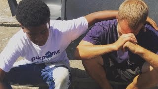 why this 14 year old boy gave his brand new sneakers to a homeless man