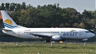 RARE Aviolet Boeing 737-3H9 YU-ANI (BOBBY) JU351 Taxiing + Takeoff at Berlin Tegel Airport