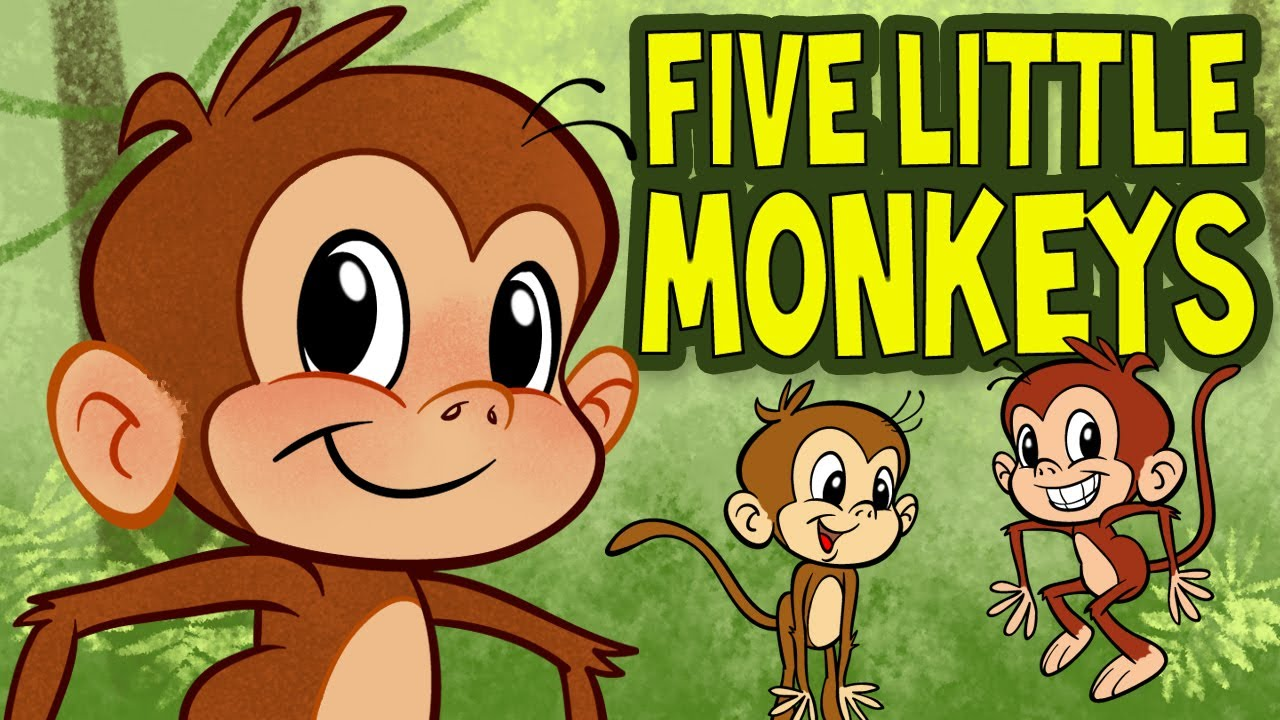 five little monkeys jumping on the bed animated nursery rhyme by