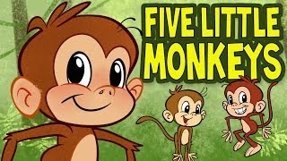 Gambar cover Five Little Monkeys Jumping on the Bed - Animated Nursery Rhyme by The Learning Station