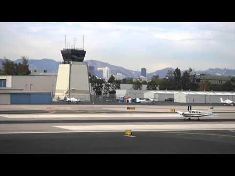 Private Jet takes off, Santa Monica Airport - Los Angeles, California, USA