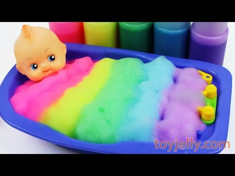 Learn Colors Baby Doll Body Paint Color Foam Bubble Bath Time Kinetic Sand Suprise Ice Cream Cups