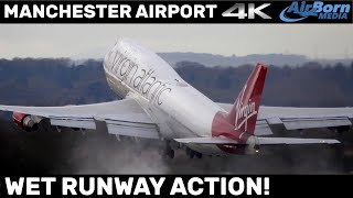 SUPER WET RUNWAY Early Morning Heavy Action Arrivals Departures Manchester Airport 4K Plane Spotting