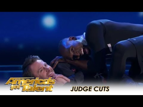 Troy James: The Flexible Spider-Man Gets CREEPY With Chris Hardwick | Americas Got Talent 2018