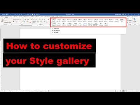 Customize Your Style Gallery In Microsoft Word