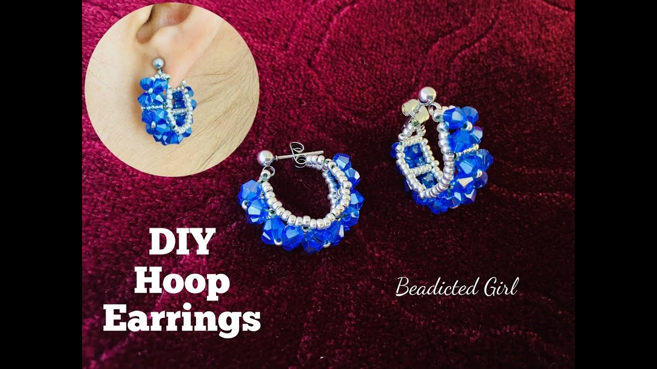 DIY Hoop Earrings || Beaded Earrings || Bicone Earrings