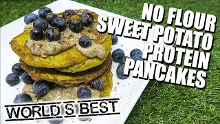 World's Best Sweet Potato Blueberry Protein Pancakes