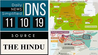 Daily News Simplified 11-10-19 (The Hindu Newspaper - Current Affairs - Analysis for UPSC/IAS Exam)