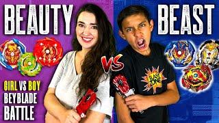 Beyblade Battle! Beauty vs Beast   Girl vs Boy   Beyblade Burst Episode