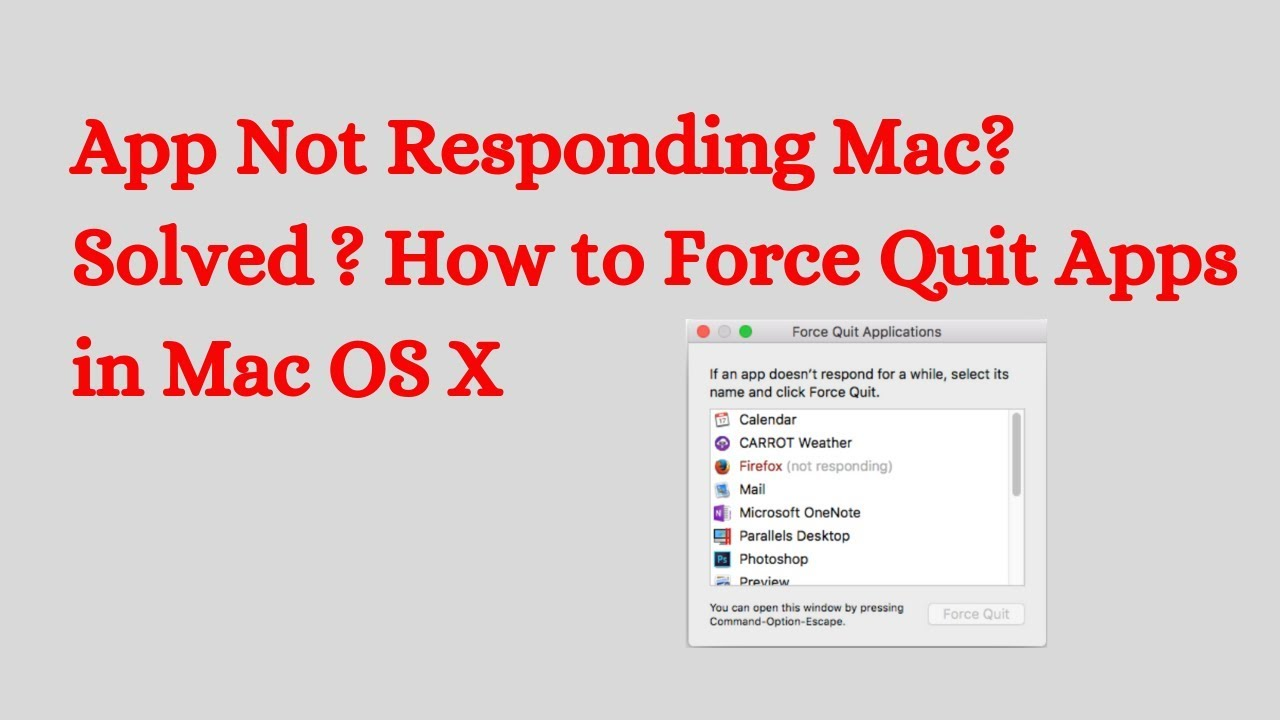 App Not Responding Mac? Solved ? How to Force Quit Apps in Mac OS X