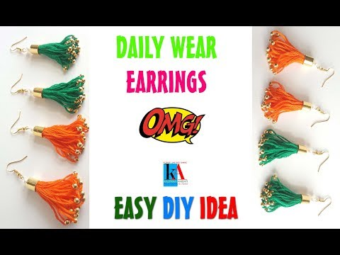 How to make Daily Wear Silk Thread Earrings at home || Silk Thread Jewellery Making Tutorial