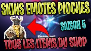 ALL SKINS, EMOTES, PIOCHES, PLANNES on Fortnite: Battle Royale Season 5
